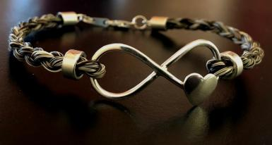 Sterling Silver Infinity Bracelet made by Mane Attraction Custom Horse Hair Jewellery (Australia)