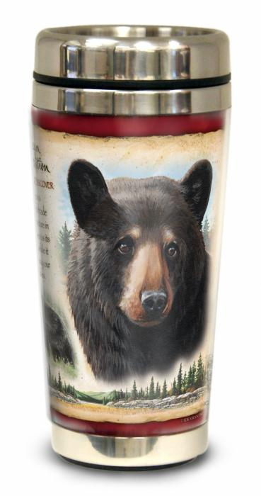 Stainless Steel Travel Mug - Black Bear Design