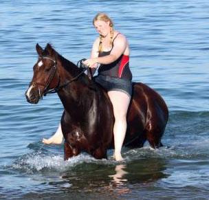 Cody swimming at the Beach.