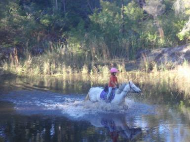 Hitting the water at a pony club rally day
