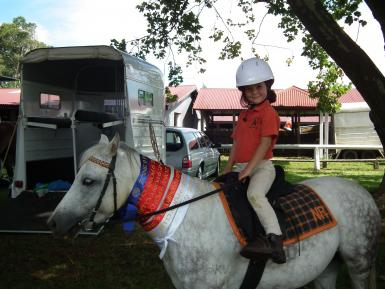 Fifi and Jarrah (age 5) get among the ribbons at the Zone 9 PC sporting Championships