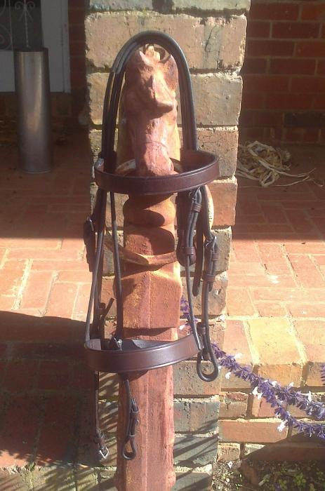 Collegiate Pony Brown Double Show Bridle Head