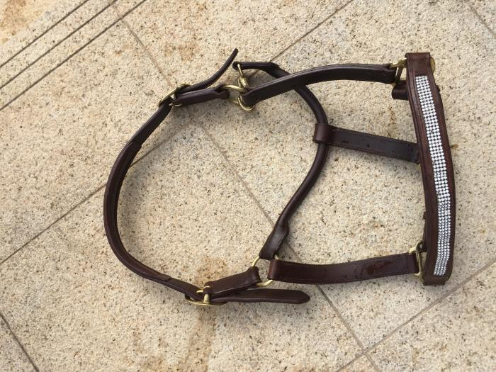 Sparkly Brown Leather Halter FULL size