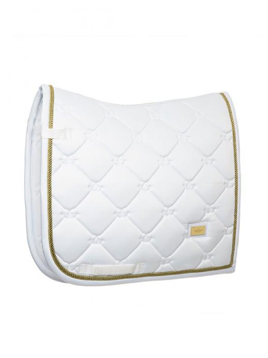 Equestrian Stockholm White and Gold Dressage Pad