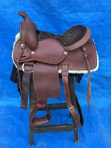 "Kids 13"" Leather Western Saddle"