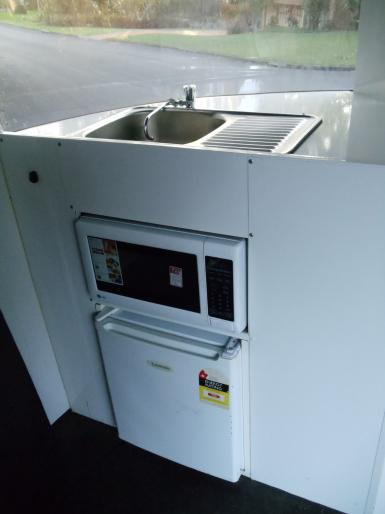 Microwave, Fridge and sink
