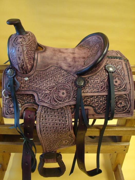 Pure Leather Western Pleasure Horse Saddle withset
