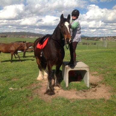 Me using a large mounting block