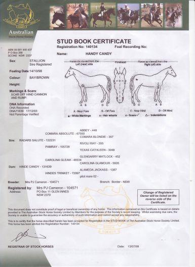 Stud Book Certificate