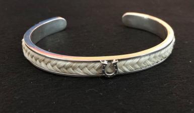 Sterling Silver Horseshoe Bracelet made by Mane Attraction Custom Horse Hair Jewellery (Australia)