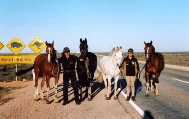 Jenni Ahmat with a team horses as they cross the Nullarbor