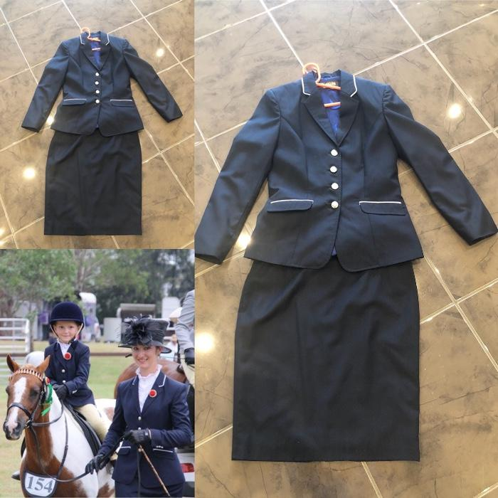 Ladies size 8 navy leading rein outfit